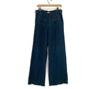 Anthropologie linen pants Cidra wide leg blue